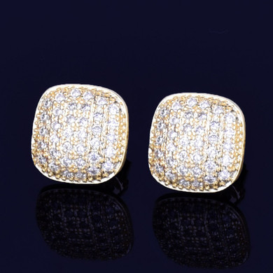 10MM Oval Square AAA Micro Pave Ice 14k Gold Silver Screw Back Plate Hip Hop Earrings