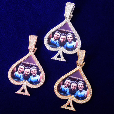 Ace Of Spades Custom Photo Chain Necklace