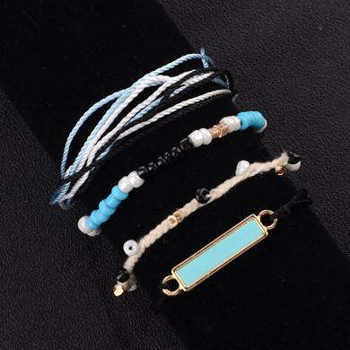 Ladies 4 Piece Simple Stylish Square Beads Multilayer Braided Rope Bracelet Set