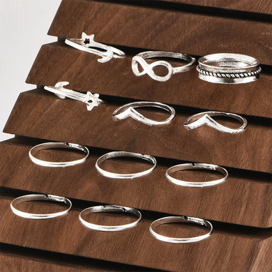 Ladies 13 Piece V Star Moon 8 Word Silver Joint Ring Set