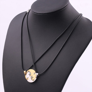Ladies Fashion 2 Piece Sweet Kitten Kitty Pussy Cat Leather Weave Pendant Necklace