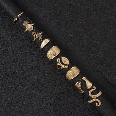 Ladies 9 Piece Retro Fashion Gold Octopus Pineapple Eye Gold Jewelry Ring Set