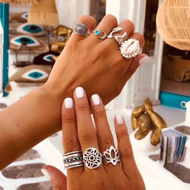 Ladies Silver 7 Piece Shell Moon Gem Retro Boho Fashion Ring Jewelry Set