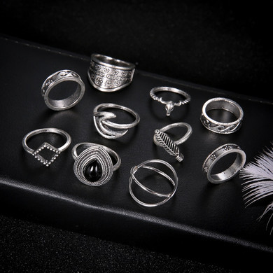 Fashion Water Drop 10 Piece Gem Flower Personality Girl Carved Cross Leaf Waves Silver Ring Set