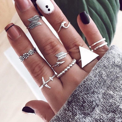 World Traveler 9 Piece Vintage Style Silver Triangle Leaf Airplane Arrow Fashion Ring Set