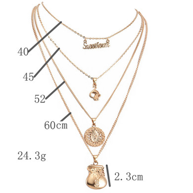 Womens Sweetheart Money Bag Spiritual Boho Pendant Multilayer Gold Necklace