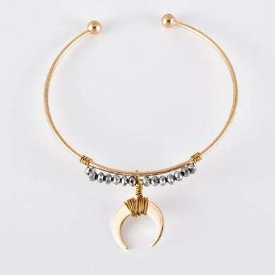 Ladies Moon Beaded Chain Heart Oval Gem 6 Piece Jewelry Bracelet Set