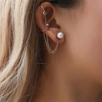 Ladies Personality Girl Pearl Chain Tassel Gold Earrings