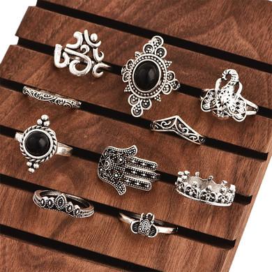 Bohemian Elephant Crown Yoga Fatima 10 Piece Fashion Jewelry Set