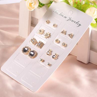 Ladies 16 Pcs Fashion Stud Earrings Gold Stars Crystal Jewelry Set