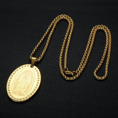 Pave Virgin Mary 14k Gold Over Stainless Steel Our Lady of Guadalupe Pendants Necklace