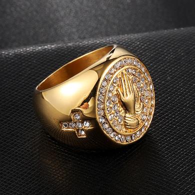 Prayer Hands Cross 14k Gold Stainless Steel Simulated Diamond Ring