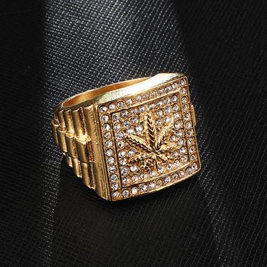 14k Gold Stainless Steel Weed Leaf 420 Design Hip Hop Flooded Ice Ring