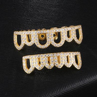 Open Face Simulated Diamond Top Bottom 14k Gold Grillz Set Teeth