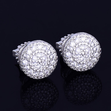 8MM Gold Silver Round Stud True AAA Micro Pave Screw Back Hip Hop Earrings