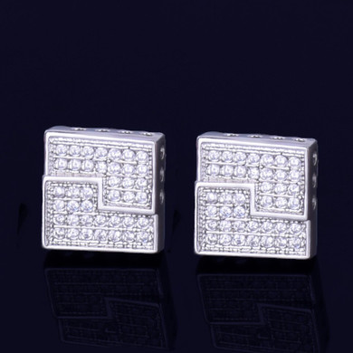 10MM AAA True Micro Pave Big Boy Slab Square Gold Silver Screw Back Hip Hop Earrings