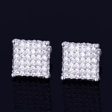 18k Gold .925 Silver 8MM Four Corners Gold Silver Super Iced Square Stud Hip Hop Earrings