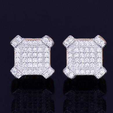 10MM Catercorner Square 18k Gold 925 Silver Bling AAA Micro Pave Iced Earrings