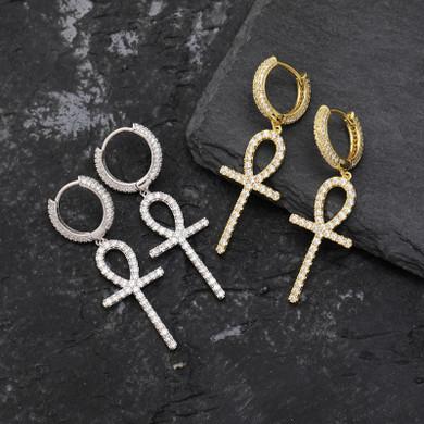 True Micro Pave Huggie 18k Gold Silver Dangling Ankh Cross Hip Hop Iced AAA Earrings