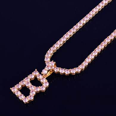 Pink Flooded Ice Simulate 18k Gold 925 Silver Tennis Letters Chain Hip Hop Pendant