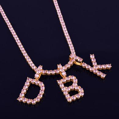 Pink Diamond Simulate 18k Gold 925 Silver Tennis Letters Chain Hip Hop Pendant