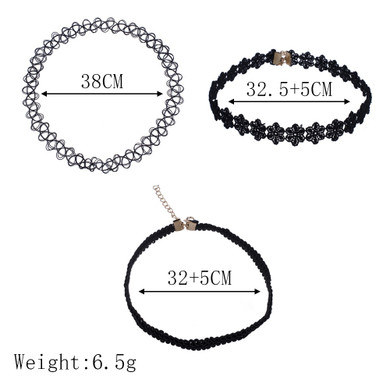 Womens 3 Piece Black Personality Party Girl Lace Chocker Chain Necklaces