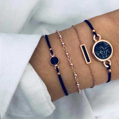 4 Piece Boho Bohemian Round Black Bead Gold Fashion Bracelet Set