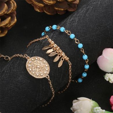Ladies 3 Piece Fashion Leaf Bohemian All is One Bead Bracelets