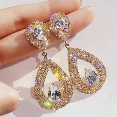 Ladies Shiny Silver Gold Crystal Tear Drop Fashion Earrings