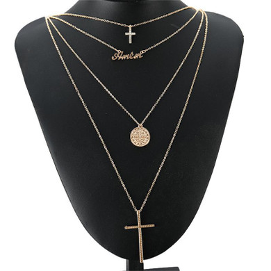 Ladies Classic Amen Divine Protection Multi Layer Cross Chain Necklace