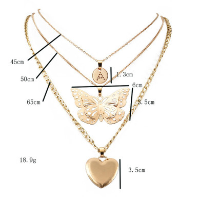 Ladies Butterfly Heart Gold Clavicle Personality Girl Chain Necklace