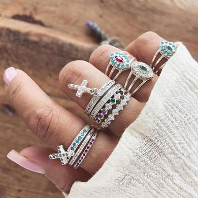 Ladies 10 Piece Boho Colorful Crystal Cross Pendant Rings Jewelry Set