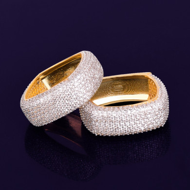 Mens 18k Gold .925 Silver AAA True Micro Pave Flooded Ice Hip Hop Rings
