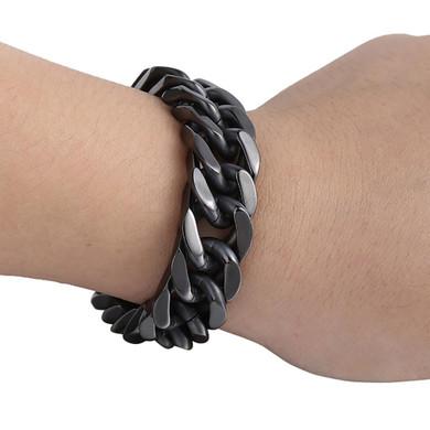Mens 316L Stainless Steel Black Rombo Curb Cut Cuban Link Bracelet