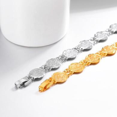 Fashion Jewelry 18k Gold Platinum Allah Coin Link Bracelets
