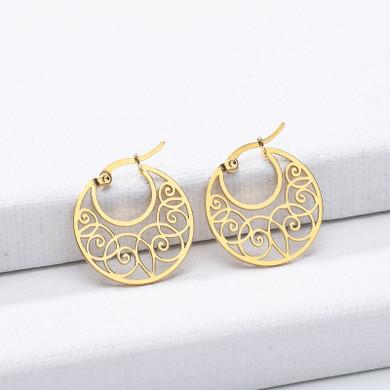 Platinum 14k Rose Gold Dainty Thin Wire Wrap Stainless Steel Hoop Earrings