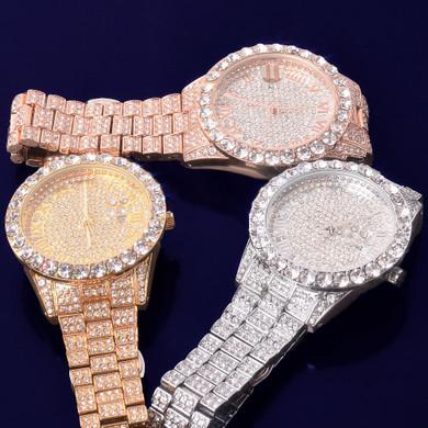 Flooded Ice Full Cluster Bezel 14k Gold Silver Rose Gold Men's Hip Hop Luxury Wrist Watch