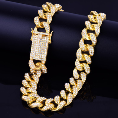14k Gold .925 Silver Rose Gold 20mm Heavy Iced Cluster Stone Miami Cuban Link Hip Hop Necklace