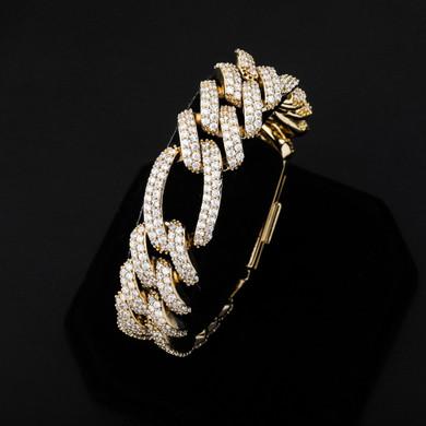18mm Flooded Ice Three Link Figaro 14k Gold .925 Silver Hip Hop Bracelet