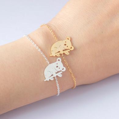 Ladies Australian Cute Koala Bear 14k Gold Silver Stainless Steel Bracelet