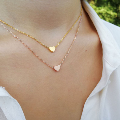 Classic Simple Elegant Silver Rose Gold Stainless Steel Heart Chain Necklaces