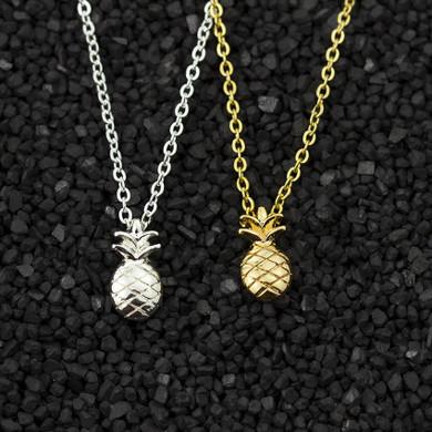 14k Gold Silver Boho Fashion Pineapple Charm Chain Necklace
