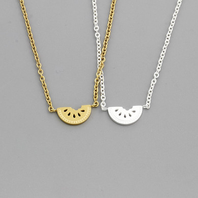 Sweet Passion Fruit 14k Gold Silver Stainless Steel Watermelon Chain Necklaces