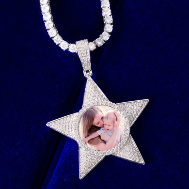 .925 Superstar Pentagram Custom Photo Pendant