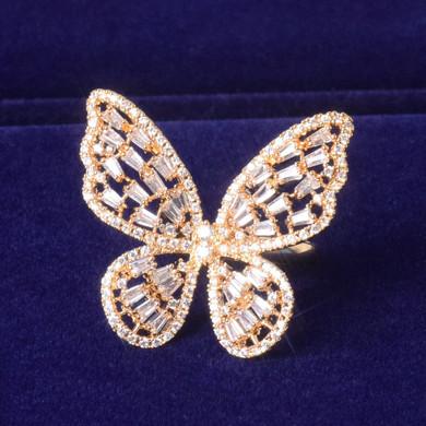 18k Gold Baguette Butterfly Rings