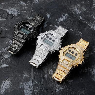 New Flooded Ice Fashion Stainless Steel Digital Movt Watch Lab Diamond Hip Hop Wristwatch
