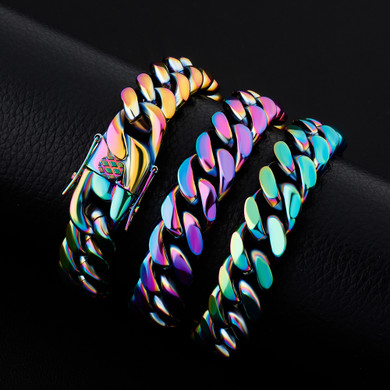 14mm Stainless Steel Fashion Rainbow Color Cuban Link Hip Hop Chain Necklace