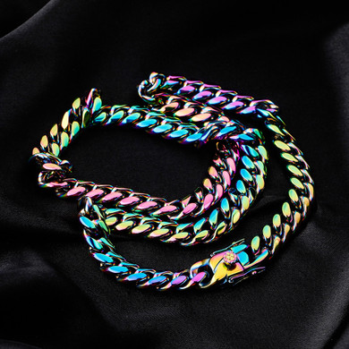 10mm Stainless Steel Fashion Rainbow Color Cuban Link Hip Hop Chain Necklace