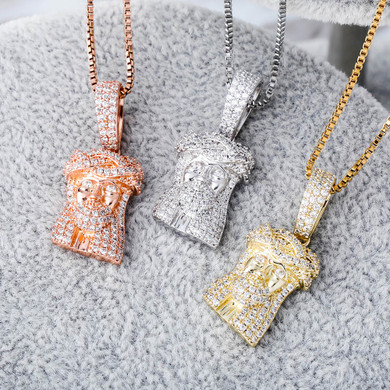 AAA Pave Set Flooded Ice Solid .925 Sterling Silver Rose 14k Gold Jesus Piece Pendant