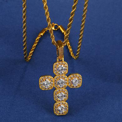 18k Gold Centerstone Butterfly Hip Hop Cross Pendant